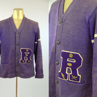 1950s Varsity Sweater Purple Wool Knit Button Up Football Lettermans Cardigan Sweater