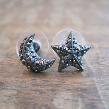 Moon and Star Earrings - Hematite Stud Earrings - Moon and Star