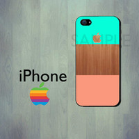 Coral Mint Green Wood iPhone Case - iPhone 4 Case or iPhone 5 Case
