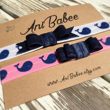 Baby bow headband, whale print baby headband, baby headband set, girls headband, teen, womens, infant headband