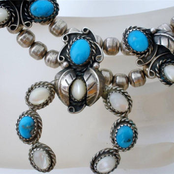 "Big Sale Sterling Silver Squash Blossom Necklace Vintage Turquoise MOP Naja Hogan Beads 16.5"" Long"