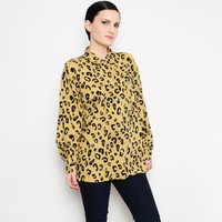 GUESS 90s Leopard Blouse Animal Print Shirt 1990s Loose Draped Collared Button Up Long Sleeve Shirt Tan Black S M L
