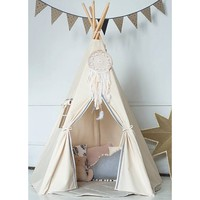 HAN-MM New design kids play tent indian teepee children playhouse children play room teepee with a dream catcher