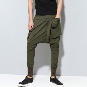 Summer personality Gothic Punk Style Harem Pants Casual Drop Crotch Dance Trousers Hip-Hop Solid Color Sweatpants 050812