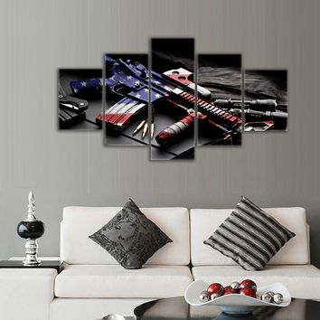 Retro gun American flag Military canvas print art Independence Day home decor wall art pictures for living room 5 panel large