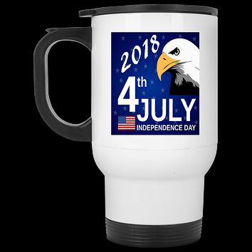 4th Of July  14 oz Travel Mug 4th Of July Custom Travel Mug Stainless Steel Travel Cup With Lid
