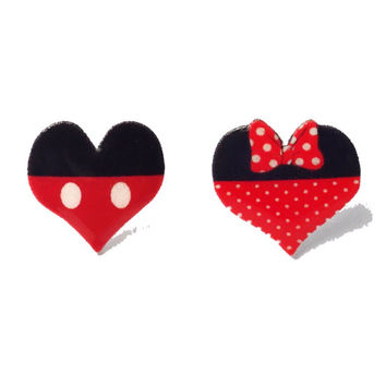 """Handmade """"Mouse Love"""" Minnie & Mickey Mouse Inspired Heart Shaped Earrings"""