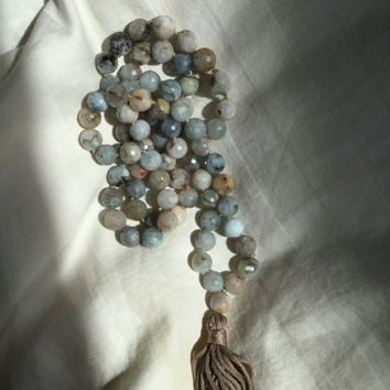 Tassel Necklace Beaded with Tan, Blue & Green Hued Jasper Gemstones