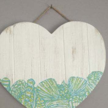 Lilly Pulitzer Inspired Weathered Wooden Panel Heart -Design 2-