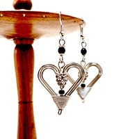 heart wire wrapped earrings silver plated brass fair trade black earring silver high fashion jewelry photography props Kenya African jewelry