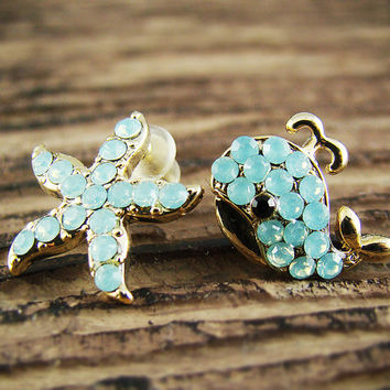 Women's Teen's Starfish Whale Stud Earrings Animal Theme Gold Plated Crystal Aqua Cool Mint Green Nickel Free