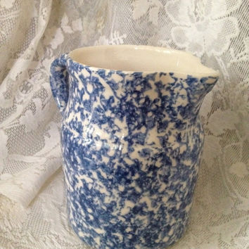 Roseville Pottery Milk Pitcher Blue Spongewear Cobalt Ohio USA Vintage Stonewear 1980s