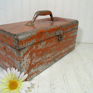 Handy Heavy Duty Chippy Safety Orange Enamel Metal Two Level Tool Chest - Vintage Shabby Silver Tackle Box - Artisan Tools & Supplies Case