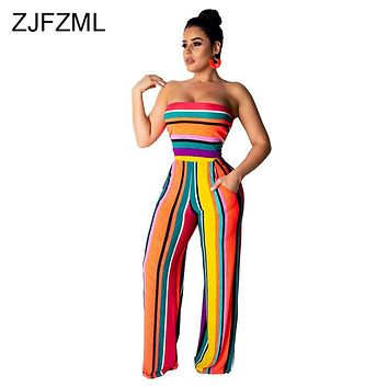 Rainbow Stripe Rompers Womens Jumpsuit Summer Off Shoulder Sleeveless Wide Leg Bodysuit Casual Strapless Backless Beach Playsuit