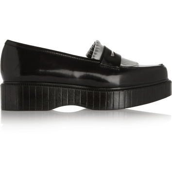 Robert Clergerie - Pastek metallic glossed-leather platform loafers