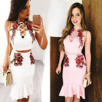 Sexy Fashion Straps Floral Embroidery Chest Lace Up Type Hollow Falbala two piece Dress