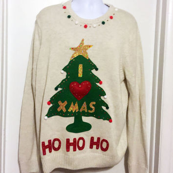 Christmas Sweater, Ugly Christmas Sweater, White Sweater, Grinch Sweater, XL, Ugly Sweater Party, Item #18