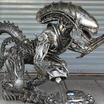 Large Alien metal sculpture table - metal table - unique art furniture - Free door to port sea freight shipping