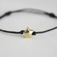 Gold Star Wish Bracelet - Black Waxed Cotton Cord