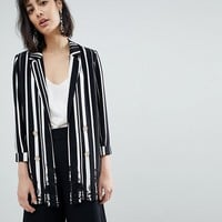 River Island Lace Trim Stripe Blazer at asos.com