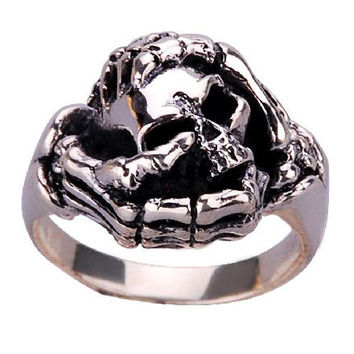 Ghost Skeleton Hand Ring for Men's Punk Rock Jewelry .925 Silver-Size 9