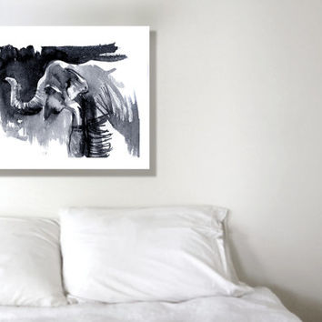 Elephant painting, canvas print, 8x10, elephant print, animal art, africa print, ink drawing, black and white art, nature art print, giclee