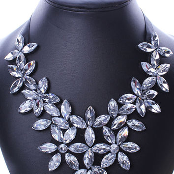White Crystal Flower Statement Collar Nacklace