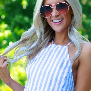 Striped High Neck Crop Tank Blue
