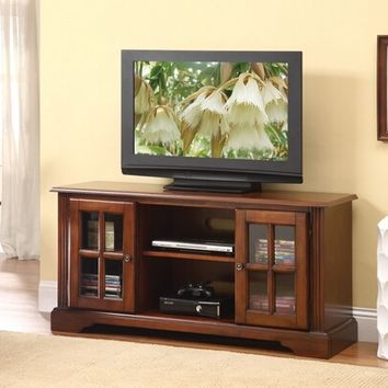 Basma cherry finish wood tv stand entertainment center with 2 side cabinets with glass front doors