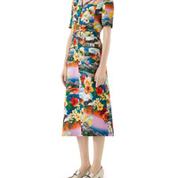 Gucci Short-Sleeve Exotic Hawaiian-Print Dress