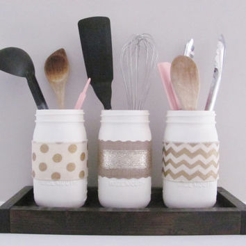 Exceptional Kitchen Mason Jars, Shabby Chic Kitchen Decor, Distressed Painte
