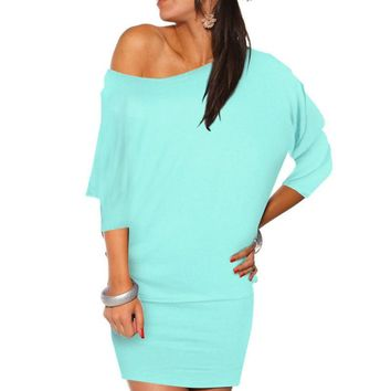 Vestidos New Summer Style Clothing Sexy Off Shoulder Mini Batwing Tunic Dress Vintage Clubwear Bandage Bodycon Dresses