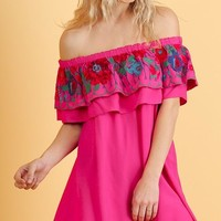 South of the Border Dress - Hot Pink
