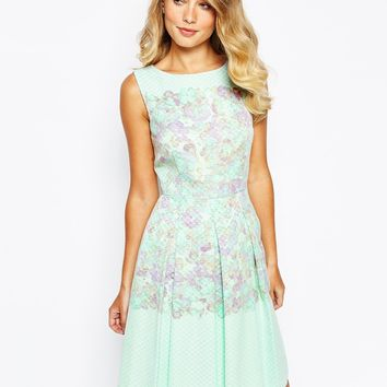 Tahari Prom Dress In Watercolour Floral Print