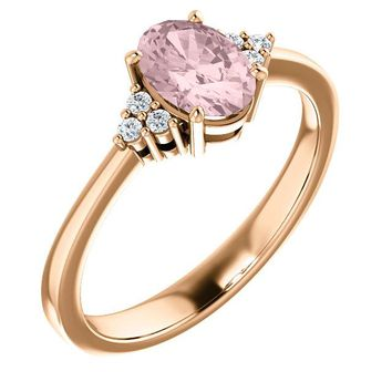 14K Rose Gold Oval 7x5mm Morganite & .06 CTW Diamond Ring