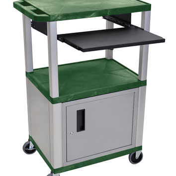 H.Wilson Mobile All Purpose Multimedia Audio Visual Presentation Cart Nickel Lockable Storage Cabinet Front Pull Out Tray Green