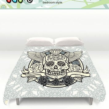 Skull Bedding Set. Queen and King Duvet Cover Sizes. Skull and Wings Duvet. Custom Duvet Cover. Skull Comforter. Gift Ideas.