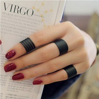 Knuckle Finger Rings Black Matte Opening 3 Piece Set