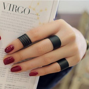 JZ103 fashion Black matte opening ring three ring high quality Midi Mid Finger Knuckle Ring Set
