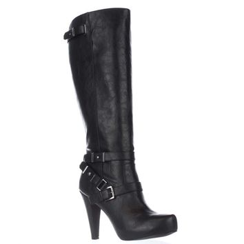G by GUESS Theorry Platform Tall Strapped Boots, Black, 8 US