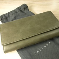 Aubrey Green Envelope Leather Wallet : Leather wallet / Green Leather Purse / Leather Purse / Green wallet