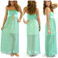 Monterey Mint Aztec Strapless Maxi Dress