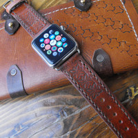 Apple watch band leather, brown leather strap, 42mm apple band, tooled strap iwatch