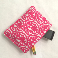Organizer Travel Case Hot Pink Swirl Pencil Case with Zipper Back to School Ready to Ship School Supplies Medication Storage Meds