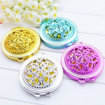 1pc Hollow Out Makeup Mirror Vintage Hand Mirrors Pocket Mini Portable Compact Mirrors Girl Double-Side Folded Random Color  AMB