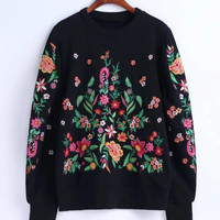 BB70-7003 fashion wind flowers embroidered Terry heavy sweater 0209