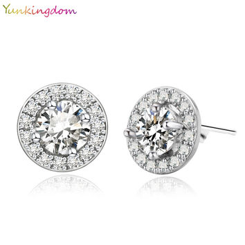 Yunkingdom fashionable pink small earrings white zircon stud earrings for girls white gold plated synthetic sapphire jewelry