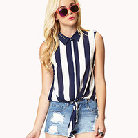 Front-Tie Vertical Striped Shirt