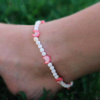 Cresent Moon Sea Shell Anklet