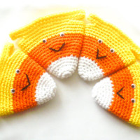 Crochet Candy Corn Goodie Bag - Set of 4 - Small Halloween Trick or Treat Bag